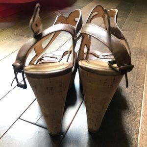 Nine West Shoes - Nine West Leather and Cork Wedges